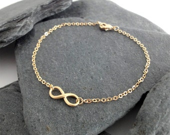Dainty Bracelet, Tiny Gold Infinity Charm, Delicate Fine Chain, Contemporary Minimalist Jewellery
