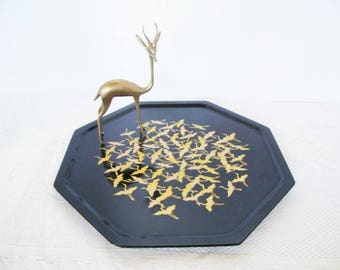 vintage lacquer wood tray zohiko flying cranes octagon plate