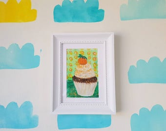 Pumpkin Cupcakes Painting, Thanksgiving painting, Pumpkin Painting , Original art, Artwork, Home decor, Thanksgiving, Kitchen art