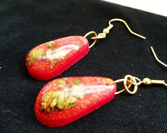 Pink Cannabis Earrings-Real Weed Jewelry-Weed Earrings-Gold Weed Jewelry-Gifts for Stoners-Gifts for Her-Marijuana Jewelry-Stoner Gift