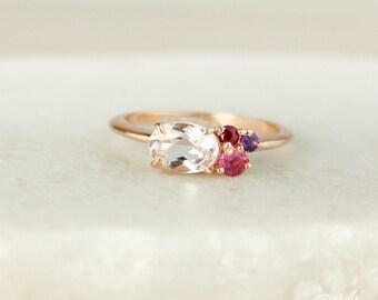 Rose Gold Pink Morganite Cluster Ring - Tourmaline, Amethyst, Red Ruby Cluster - 10kt Rose Gold