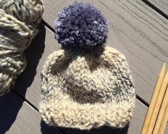 Hand Knitted Baby Beanie > Neutral Baby Beanie > Baby Beanie With Pom Pom > Chunky Knit Baby Hat > Knit Baby Hat > Knit Kids Beanie Hat Arlo