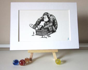 """Black & White Line Art Print: """"Monkeybread"""""""