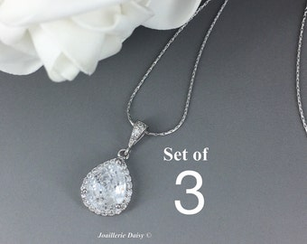 Set of 3 Cubic Zirconia Necklace Bridal Jewelry Bridesmaid Gift Crystal Necklace CZ Necklace Wedding Jewelry Gift for Her