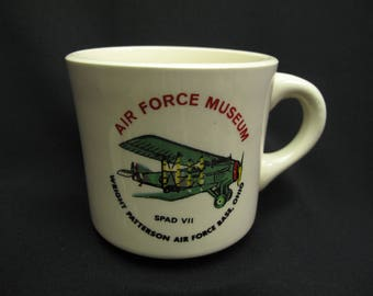 Vintage Wright Patterson Air Force Base Museum Coffee Mug Tea Cup Shabby Cottage Chic Retro Made In USA