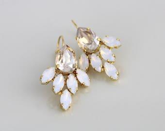 Gold Wedding earrings, Crystal Bridal earrings, Bridal jewelry, White opal champagne earrings, Swarovski earrings, Crystal cluster earrings