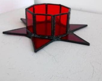 Small star Candle Holders-Tiffany, stained glass, candle holder