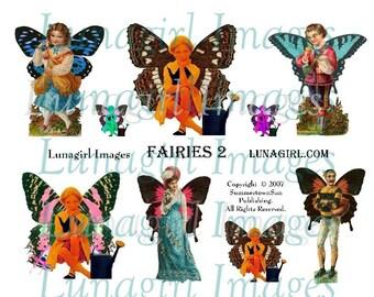 VINTAGE FAIRIES digital collage sheet, Altered Art Fairy girls man Victorian ladies, Fantasy Garden images butterfly wings Ephemera DOWNLOAD