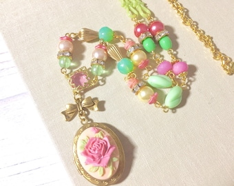 Long Locket Necklace, Long Beaded Necklace, Pink Flower Necklace, Large Rose Locket Necklace, Vintage Assemblage Necklace, KreatedbyKelly
