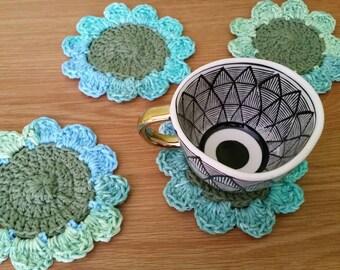 Flower Coaster Set / Crochet Coasters / Sunflower Coasters / Crochet Flower Coasters / Blue Flower Coasters / Sunflower Decor / Set of 4
