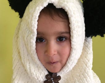 Panda bear hood for kids ages 4 to 7
