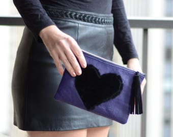 CLEARANCE -Genuine Leather Zip Pouch, Leather Pochette, Lilac Leather Zip Pouch, Heart Clutch, Heart Design Clutch, Heart Shape Clutch