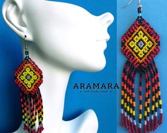 Boho earrings, Huichol Earrings, Mexican earrings, Native american earrings, Native Jewelry, Mexican folk art, Mexican Jewelry, AO-0155