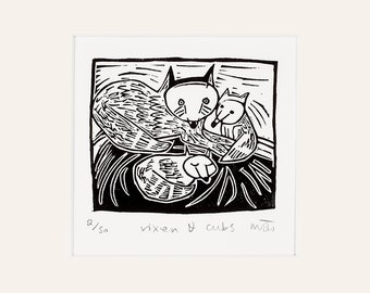Lino Print  - Vixen and Cubs - fox art - fox picture - handmade lino cut - fox wall art - animal art  - animal print -