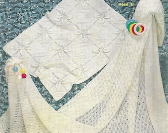 Baby Cover and Shawls Sirdar Knitting Pattern Vintage PDF Download