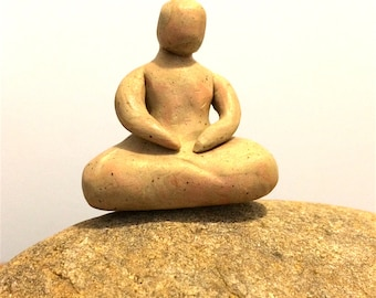 Small buddha, marbled garden sculpture, earth goddess mother nature, miniature buddha pocket goddess