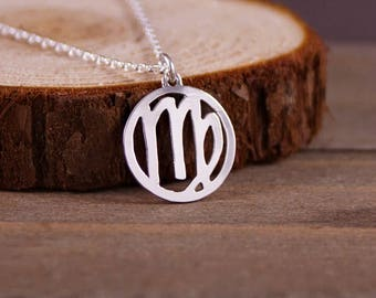 Virgo - Hand Cut Sterling Silver Glyph Pendant, Necklace