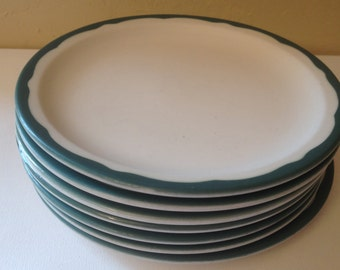 Vintage set of (7) Dark Green Trim Syracuse Luncheon Plates -Restaurant Ware- & Dark green plates | Etsy