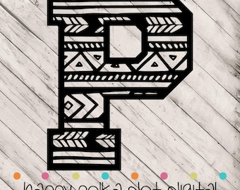 Aztec Letter P SVG digital cutting file for Silhouette Cameo, Cricut Explore, or other personal cutting machines