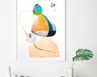 Geometric print, mid century art print, yellow and blue, minimalist art print, abstract Giclee print, geometric wall art prints