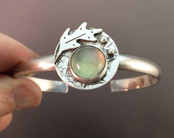 ON SALE 25% OFF. Prehnite Cabochon Leaf Sterling Silver Icon Metalwork Bracelet
