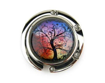 Purse Hanger, Purse Hook, Purse Holder, Folding, Photo, Magnetic, Glass, Tree of Life, Colorful Curly Tree
