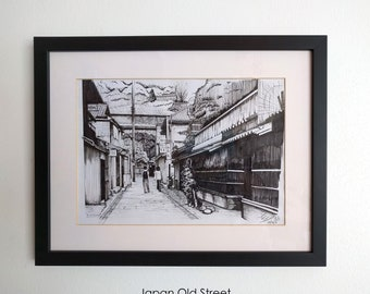 Japan Old Street A4 Size Artline Technical Hand Drawing (With Frame)