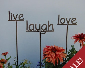 SHIP NOW - Set of 3 Garden Signs - live, laugh, love
