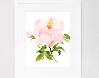Single Pale Peony Watercolor Art Print