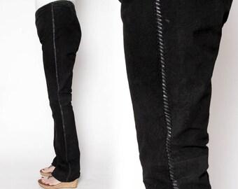 CLOSING SALE vintage nineties suede black or tan pants high waisted leather pants