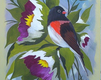 "Original acrylic painting ""Oregon Junco and Blossoms"" Bird painting Bird Art Wall Art by Michael Hutton 9 by 12"