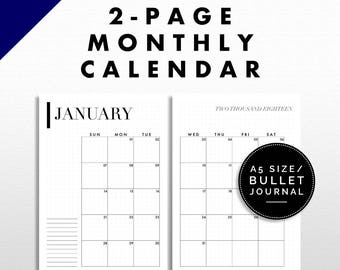 Two-Page Monthly Calendar Printable | Bullet Journal / A5 Size | Minimalist Design