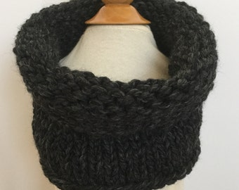 classic knit cowl/scarf/infinity scarf for toddlers and young adults ~ acrylic/wool ~ charcoal ~ great holiday gift ~from lillybelle designs