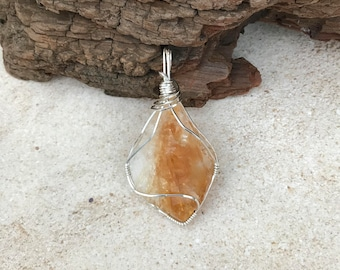 Raw Citrine Wire Wrapped Pendant, Citrine Necklace, Wire Wrapped Citrine Necklace