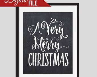 Chalkboard Christmas Printable, Christmas Wall Art, Printable Christmas Print, Christmas Decor, Chalk Board Christmas Print, 8x10 DIY