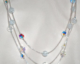 Long White Murano Millefiori Glass and Clear AB Crystal Necklace