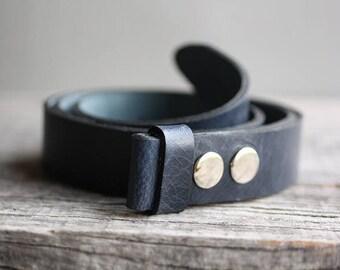 Dark blue genuine leather snap belt, blue snap on belt, Handmade leather belt, belt strap for buckle, gift for him, man gift idea, for her