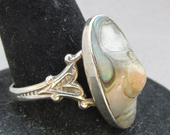 Sterling Silver Abalone Vintage Paua Shell Ring, Size 9
