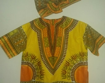 Little kids African print tunic top with headwrap