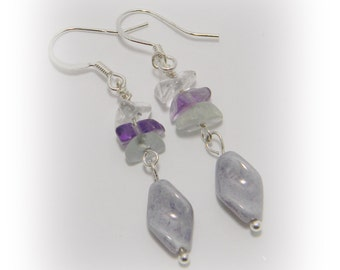 Lovely Lilac Beaded Earrings