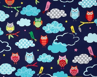 Owls Kaufman blue patchwork fabric