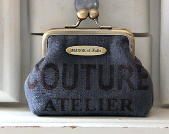 """""""COUTURE"""" workshop anthracite metal frame coin purse"""
