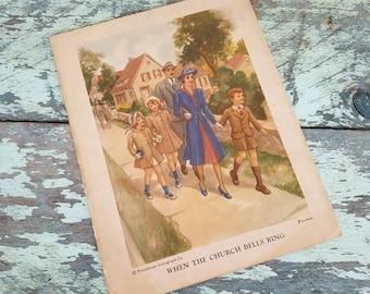 Vintage Providence Lithograph Print Trifold - Antique Religious Wall Art, Nursery Decor, Authentic  Vintage Art,  Church Bells, Bible Lesson