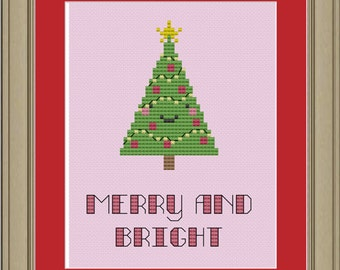 Merry and bright: cute Christmas tree cross-stitch pattern