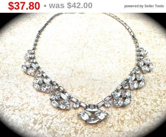 Sale Scalloped Rhinestone Choker Necklace, unique vintage necklace