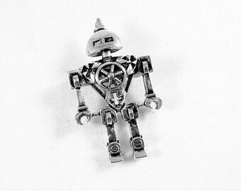 Steampunk Robot Brooch Silver,   Mens Womens Gift Handmade