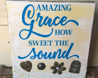 Amazing Grace Mixed Media Canvas, Word art