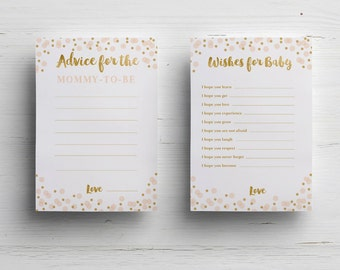 Confetti wishes for the baby card baby shower printable game instant download pink and gold advice for mommy shower party printable decor