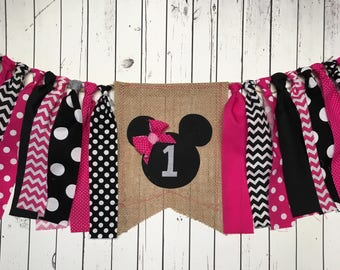 WEEKEND SALE Ends Sunday Birthday Banner Minnie Mouse Highchair Banner, Photo Prop, Rag Banner