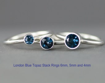 London Blue Topaz Ring - Sterling Blue Topaz Stacking Rings - 6mm 5mm or 4mm Choices